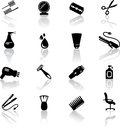 Set black hail salon icons Royalty Free Stock Photos