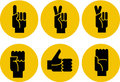 Set of black hands icons on a yellow background Stock Photos