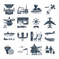 Set of black icons airport and airplane, control tower