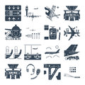 Set of black icons airport and airplane, terminal, runway Royalty Free Stock Photo
