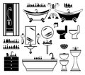 Set of black icons of bathroom Stock Photography