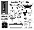 Set of black icons of bathroom Royalty Free Stock Photo