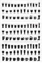Set of black icons beer glass. Beer glasses and mugs silhouettes. Vector illustration Royalty Free Stock Photo