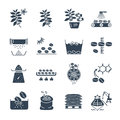 Set of black icons coffee production processing