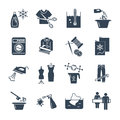 Set of black icons dry cleaning and laundry service production Royalty Free Stock Photo