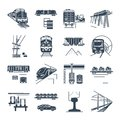 Set of black icons freight and passenger rail transport, train Royalty Free Stock Photo