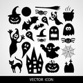 Set of black icons for Halloween on a gray background Royalty Free Stock Photo