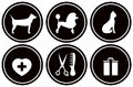 Set black icons for pet objects isolated services Stock Photography
