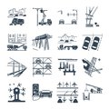 Set of black icons transport infrastructure, road, air
