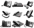 Set of Black IP office phone isolated Royalty Free Stock Photo