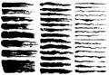 Set of black paint, ink brush strokes Royalty Free Stock Photo