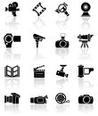 Set of black photo-video icons Royalty Free Stock Image