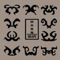 Set of black shape horn animals Royalty Free Stock Photo