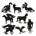 Set black silhouette animal greek mythological creatures Royalty Free Stock Photo