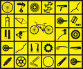 Set of black silhouette icons of bicycle spare parts.
