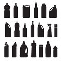 Set of black silhouette illustration bottles, cans, container Royalty Free Stock Photo