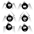Spiders kids silhouettes. Baby insect collection. Set cartoon characters of cute and funny black silhouette little spiders.