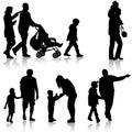 Set black silhouettes Family with pram on white background. Vector illustration Royalty Free Stock Photo