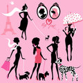 Set of black silhouettes of fashionable girls with their pets
