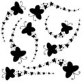 Set of black silhouettes. A flock of abstract cartoon butterflies flying one after another