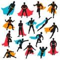 Set Of Black Superhero Silhouettes