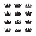 Set of black vector crowns. Vector illustration. Royalty Free Stock Photo