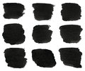Set of black watercolor hand paint brush strokes are isolated on a white background Stock Image