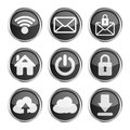 Set of black web icons on a white background Royalty Free Stock Image