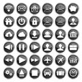 Set of black web multimedia and business icons on a white background Stock Image