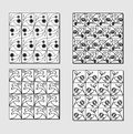 Set of black white background tiles with simply floral motif small mirror elements in squares Royalty Free Stock Photography