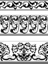 Set of black and white borders seamless patterned Royalty Free Stock Photos