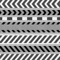 Set of Black-White Caution Tapes and Warning Signs Royalty Free Stock Photo