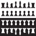 Set of black and white chess pieces eps Stock Image