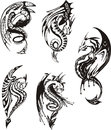 Set of black and white dragons powerful vector illustration Royalty Free Stock Photography