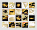 Set of 20 black white and gold ink brushes grunge square pattern Royalty Free Stock Photo