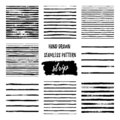 Set black and white hand draw vector seamless patterns Stripe Line