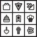 Set of black  and white icons celebration Royalty Free Stock Photo