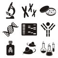Set of black and white molecular biology science icons Stock Photography