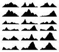 Set of black and white mountain silhouettes. vector Royalty Free Stock Photo