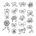 Set of black and white ribbons contours bows for gift Stock Images