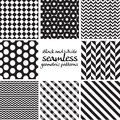 Set of black and white seamless geometric patterns vector Royalty Free Stock Images
