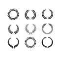 Set of black and white silhouette circular laurel