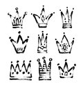 Set of 9 black and white sketch drawing princess and the king cr