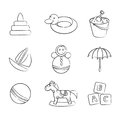Set of black and white toys vector illustration icons Royalty Free Stock Photos