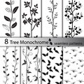 Set of black and white tree seamless patterns Royalty Free Stock Photo