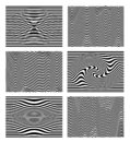 Set of black and white wave stripe optical abstract. Design background. Curved lines. Vector illustration. Isolated on white