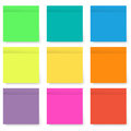 Set of blank bright and colorful sticky notes isolated on white Royalty Free Stock Photo
