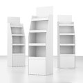 Set of blank displays with shelves on white render Royalty Free Stock Photo