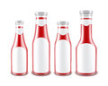 Set of Blank Glass Red Tomato Ketchup Bottles