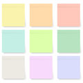 Set of blank pastel and colorful sticky notes isolated on white